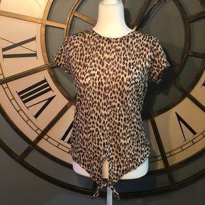 NWT Loft Leopard Print Linen Tie Tee